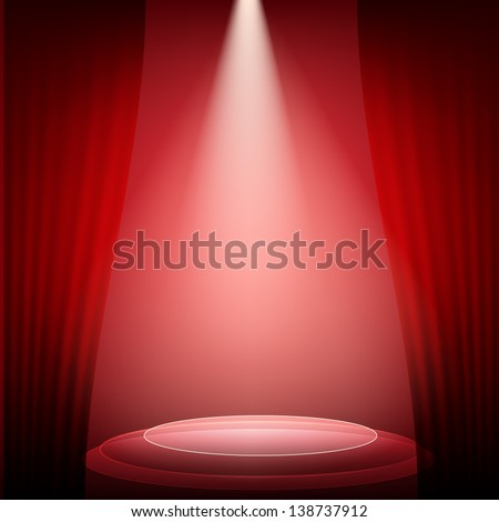 The scene illuminated by a spotlight and a red curtain. - stock vector