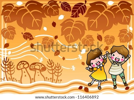 The Scenery of fall foliage - enjoying autumn picnic with lovely young cheerful children and beautiful leaves in romantic garden on a brown background : vector illustration - stock vector