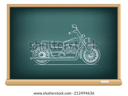 The school blackboard and chalk drawn motorcycle - stock vector