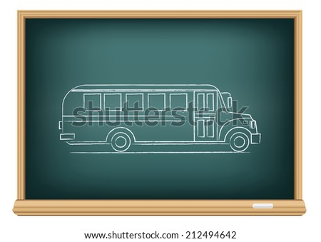 The school blackboard and chalk drawn school bus in the side view - stock vector