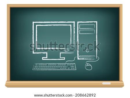 The school blackboard and chalk written desktop computer - stock vector