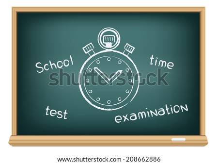 The school blackboard and chalk written stopwatch - stock vector