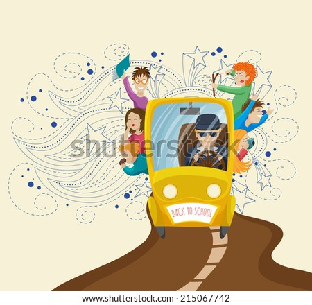 The school bus with children and driver on a fancy doodle background for your design.