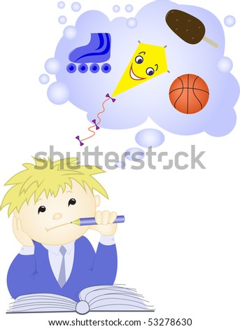 The schoolboy sitting in front of an open textbook and dreaming about toys - stock vector