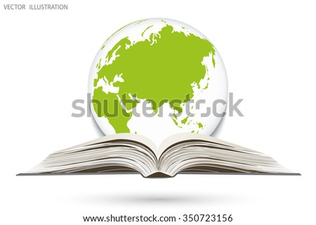 The scientific concept of an open book and a globe, vector illustration modern template design - stock vector
