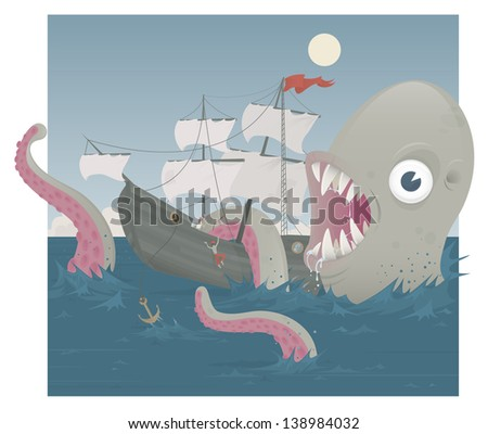 The Sea Monster! A monster attacking a sailing ship. Please note file is EPS 10. - stock vector