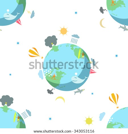 The seamless pattern with the Earth on the whyte background