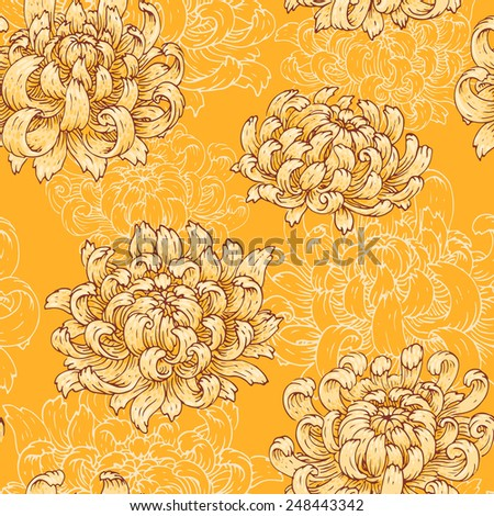 The seamless pattern with yellow chrysanthemum.  - stock vector
