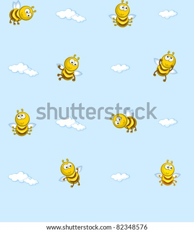 The Seamless vector texture. On background of blue sky flying bees. Cartoon. Baby wallpaper.