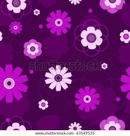 The seamless violet flowers pattern. Vector background. - stock vector