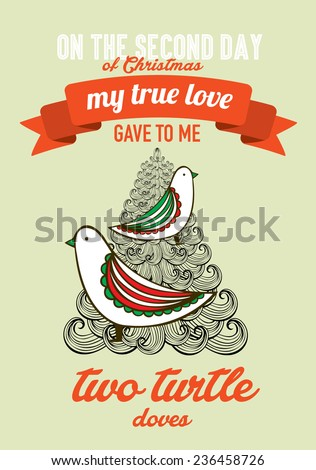 the second day of christmas of the twelve days of christmas advent calendar vector/illustration - two turtle doves - stock vector