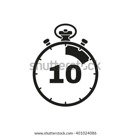 The 10 seconds, minutes stopwatch icon. Clock and watch, timer, countdown symbol. UI. Web. Logo. Sign. Flat design. App. Stock vector - stock vector