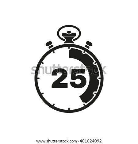 The 25 seconds, minutes stopwatch icon. Clock and watch, timer, countdown symbol. UI. Web. Logo. Sign. Flat design. App. Stock vector - stock vector