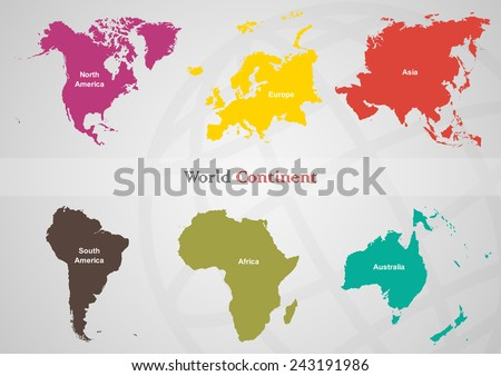 The separated area of each continent in the world on gray back ground.(EPS10 Art vector separate part by part) - stock vector