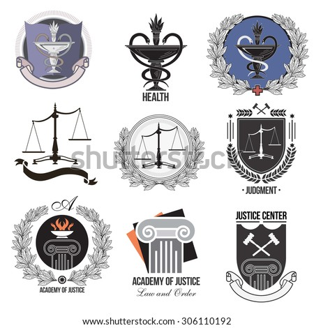 The set justice, Academy, health care logos, emblems and design elements. Labels and badges Law firm, health, medicine, business.