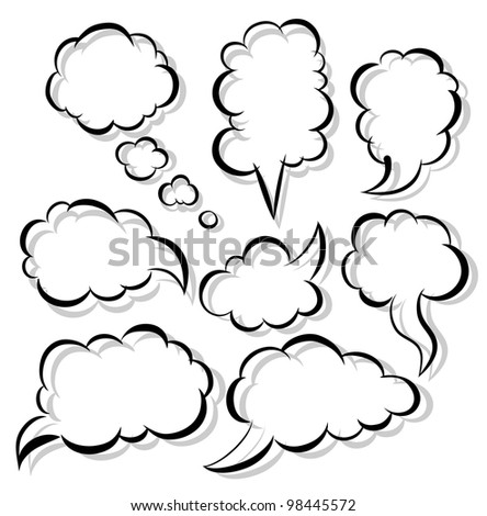 The set of a black contour and shadow - stock vector