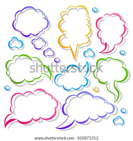 The set of a black contour speech bubbles and shadow - stock vector