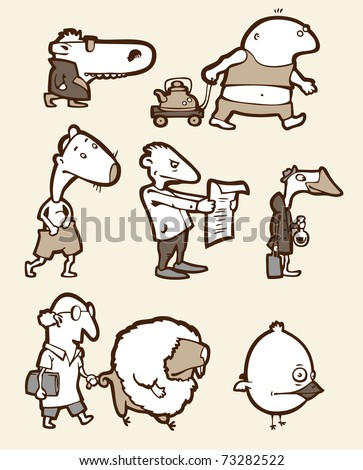 The set of a funny creatures. They are all different: stupid, happy, sad, confused etc. Editable vector EPS file v9.0