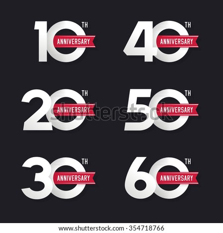 The set of anniversary signs from 10th to 60th. Stock vector illustration. Design elements. - stock vector