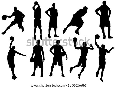 The set of 10 basketball players silhouette - stock vector