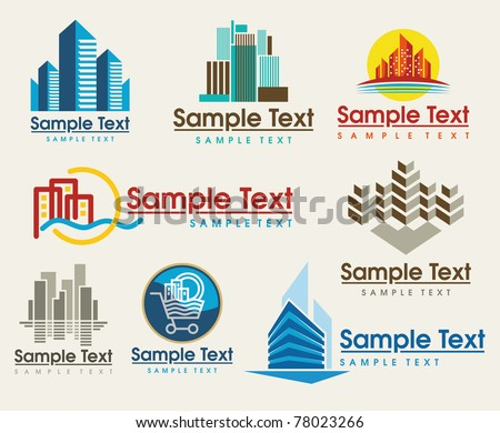 the set of city skyline signs - stock vector