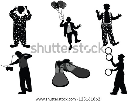 The set of Clown silhouette - stock vector