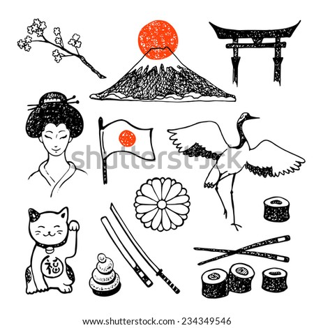 The set of elements of Japanese culture. Hand drawn vector icons collection. - stock vector