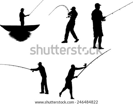 The set of 5 fisherman silhouette - stock vector