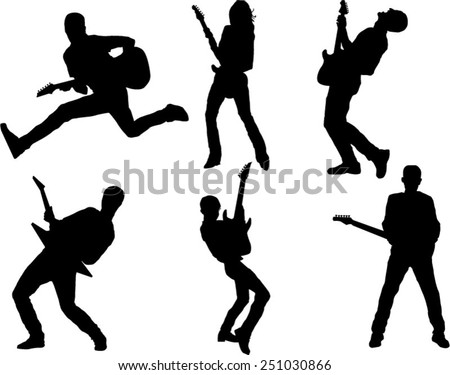 The set of 6 guitar player silhouette - stock vector