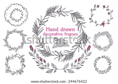 The set of hand drawn vector circular decorative elements for your design. Leaves, swirls, floral elements. Elegant collection for wedding invitations, love and valentine's day greeting cards. - stock vector