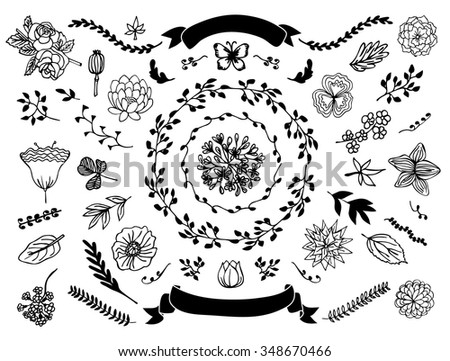 The set of hand-drawn vector decorative elements for your design. Leaves, swirls, floral elements. Vector illustration. Wedding, marriage, bridal, birthday, Valentine's day.