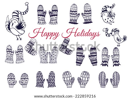 The set of hand drawn vector mittens with geometric and floral pattern. Winter background. The collection of doodle elements for your design. - stock vector