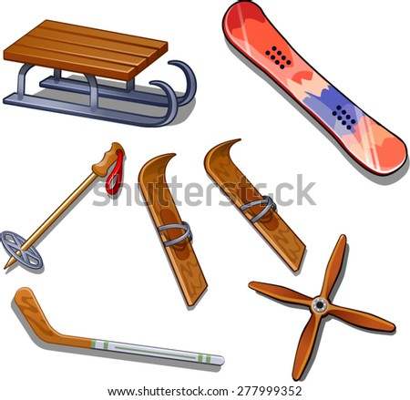 the set of items for winter sports - stock vector