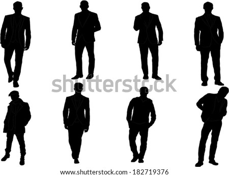 The set of Man fashion silhouette - stock vector