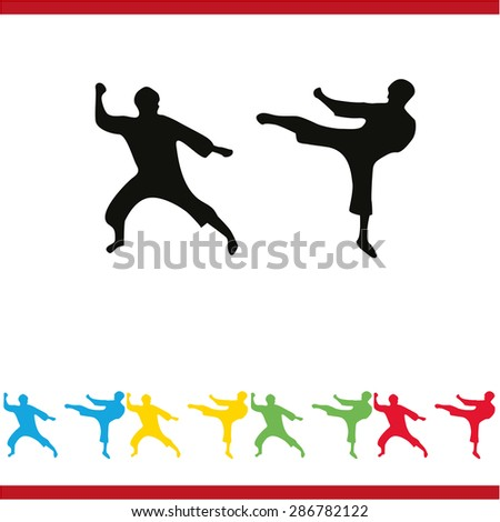 The set of martial art silhouette - stock vector