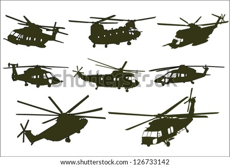 The set of military transport helicopter - stock vector