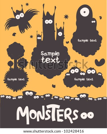 The set of monsters - stock vector