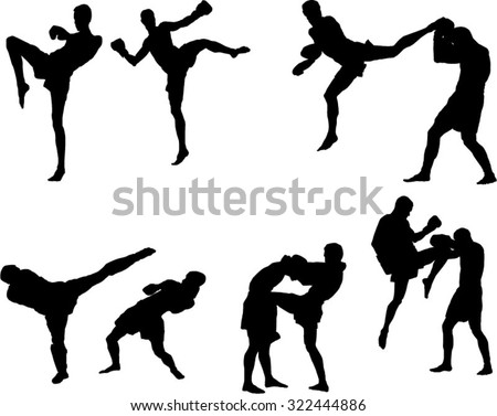 The set of 6 muay thai silhouette