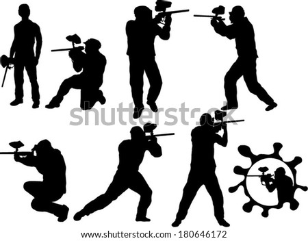 The set of 8 Paintball players silhouette - stock vector