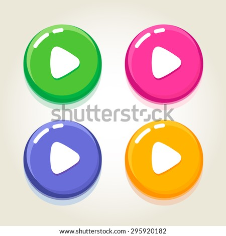 The set of play music buttons different colored with the glossy effect. Fully editable vector illustration. Perfect for web, signs, posters. - stock vector