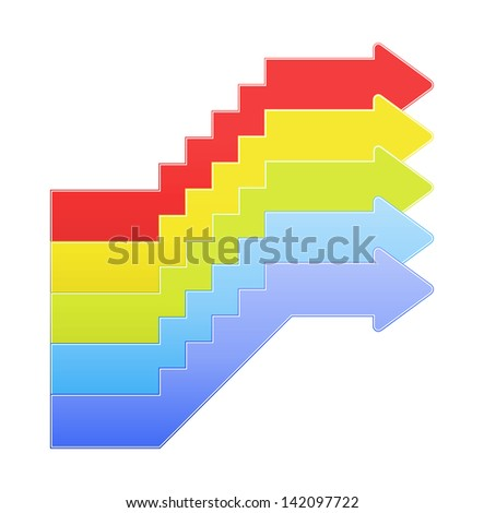 The set of red, yellow, green, light blue and blue upstairs graphic element / The set of upstairs arrow / Upstairs - stock vector