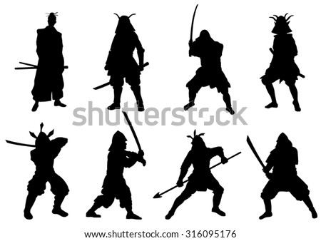 The Set of  Samurai Warriors Silhouette - Vector Image - stock vector