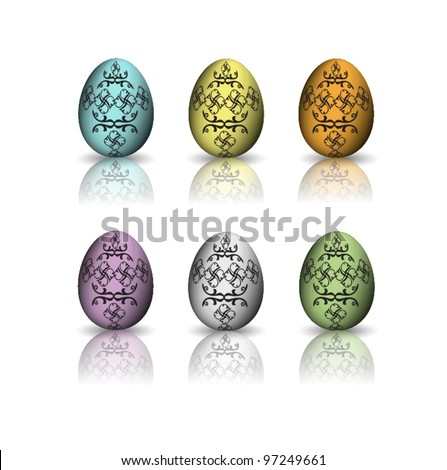The set of six easter eggs for different uses - stock vector