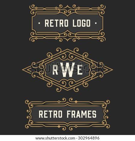 The set of stylish retro logo and monogram emblem templates. Elegant vintage frames ornament logo design. Stock vector. - stock vector