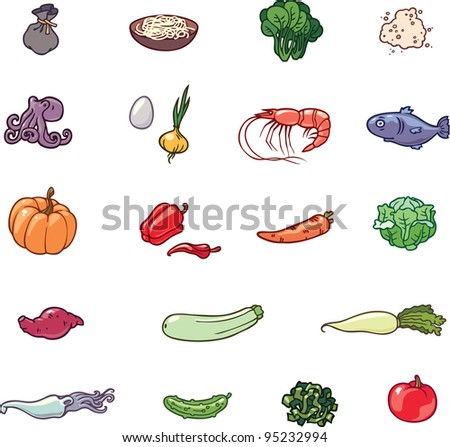 The set of the food products illustrations. There are the vegetables, the sea food, the noodles and the others. - stock vector