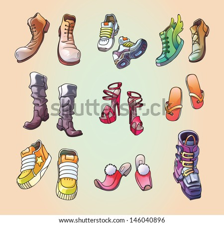The set of the original, strange and casual vector footwear. And even the one ski boot! - stock vector