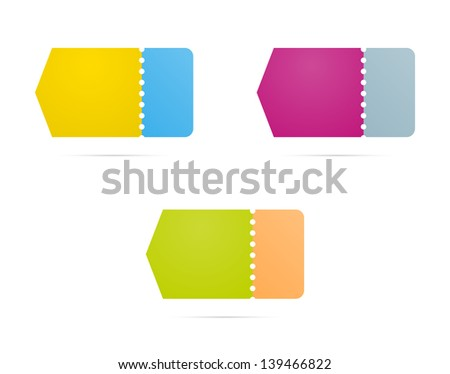 The set of three blank groovy and perforated labels / groovy arrow labels - stock vector