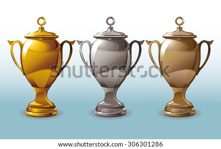 The set of three shiny cups for first, second and third places.  - stock vector