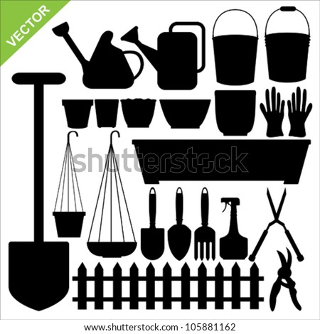 The set of tool garden silhouettes vector