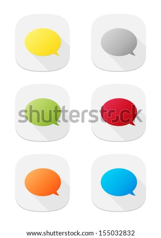 The set of various colors speech bubble icons / The bubble icon set / The speech bubble